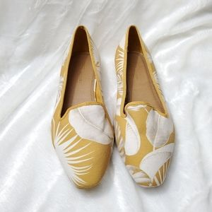 NWOT ASOS Yellow Leaf Print Loafers